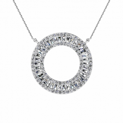 14k White Gold Arbor Diamond Circle Tapered Baguette Pendant (1 1/4 CT. TW.)