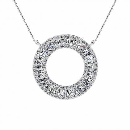 14k White Gold Arbor Diamond Circle Tapered Baguette Pendant (1 1/4 CT. TW.)