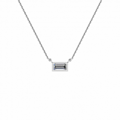 14k White Gold Sunshine  Diamond Baguette Bezel Pendant (1/8 CT. TW.)