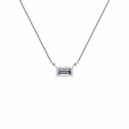 14k White Gold Sunshine  Diamond Baguette Bezel Pendant (1/8 CT. TW.)