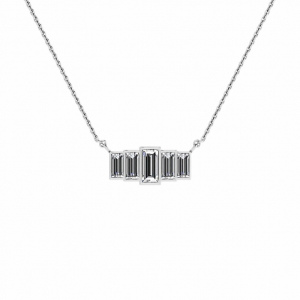 14k White Gold 5 Stone Diamond Baguette Pendant (4/9 CT. TW.)