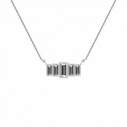 14k White Gold 5 Stone Diamond Baguette Pendant (4/9 CT. TW.)