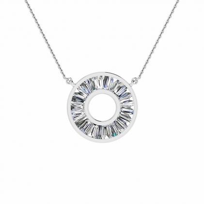 14k White Gold Reine Tapered Baguette Diamond Circle Pendant (1 1/9 CT. TW.)