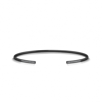 14k Black Gold Lake Petite Pave Diamond Open Bracelet (1/7 CT. TW.)