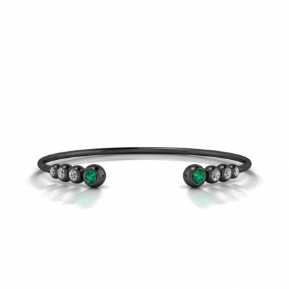 14k Black Gold Abby Graduated Emerald And Diamond Cuff Bracelet