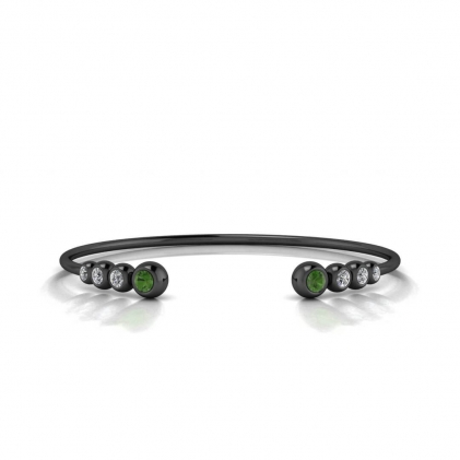 14k Black Gold Abby Graduated Green Tourmaline And Diamond Cuff Bracelet
