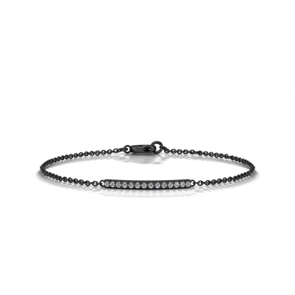 14k Black Gold Diamond Bar Set Bracelet (1/8 CT. TW.)