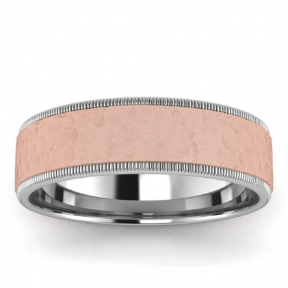 14k Rose Gold Casper Hammered Milgrain Wedding Ring 6mm