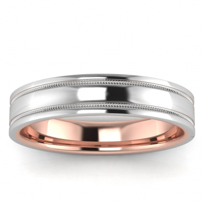 14k Rose Gold Milgrain Thin Band 4.5mm