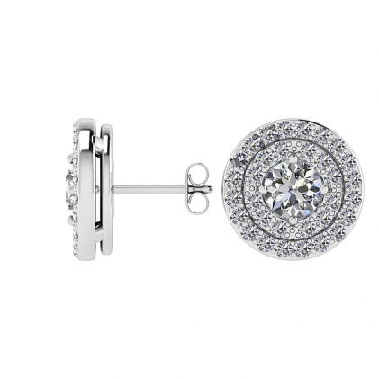 14k White Gold Grand Reva Double Halo Diamond Earrings (9/10 CT. TW.)