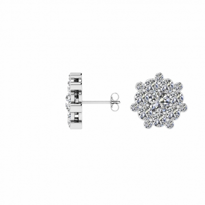 14k White Gold Ebba Snow Flake Diamond Earrings (2 CT. TW.)