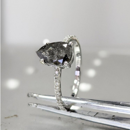 Gold Raw Diamond, 1ct Salt and Pepper, Hexagon, Unique Engagement Ring, Rose Cut Geometric Diamond Ring, 14k Gold, Custom Handmade