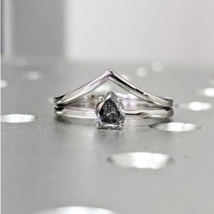 1920's Raw Salt and Pepper Diamond, Pear Diamond Ring, Unique Engagement Bridal Set, Black, Gray Pear, 14k Yellow, Rose, or White Gold