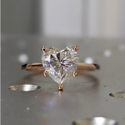 Round Moissanite Solitaire Engagement Ring 14k Rose Gold,6mm/6.5mm/8mm Round Moissanite Solitaire Ring, Round Solitaire Band