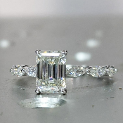 art deco, bridal, cluster, delicate, emerald cut, forever one, promise, unique, gift for women, moissanite, rose gold, vintage, wedding