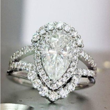 diamond ring, rose gold, moissanite, forever one, moissanite ring, classic solitaire, moissanite gold ring, unique moissanite, Open Gallery, high Profile Prongs, twisted band, prongs, basket setting
