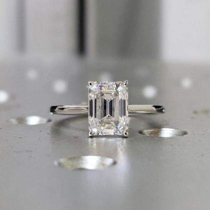 Emerald Cut Engagement Ring, Emerald Cut Ring, Baguette Engagement Ring, 2.5 Ct Solid 14k Gold Two Tone Moissanite Engagement Ring