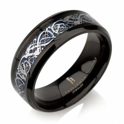 Black Plated Titanium Carbon Inlaid Wedding Band 8mm