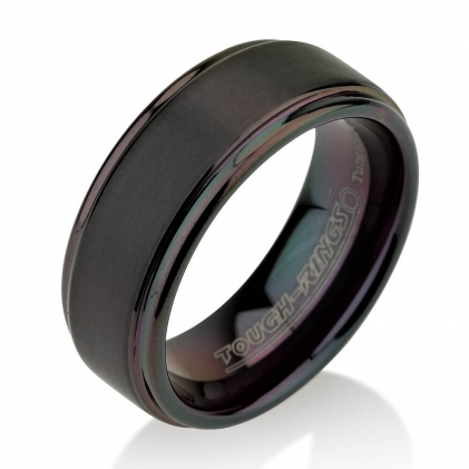 Black Plated Tungsten Brushed Center Black Wedding Band 8mm