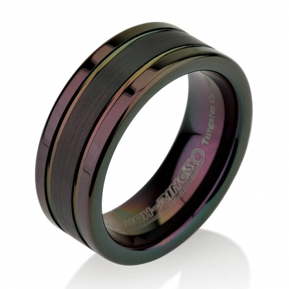 Black Plated Tungsten Brushed Center Grooved Ring 8mm