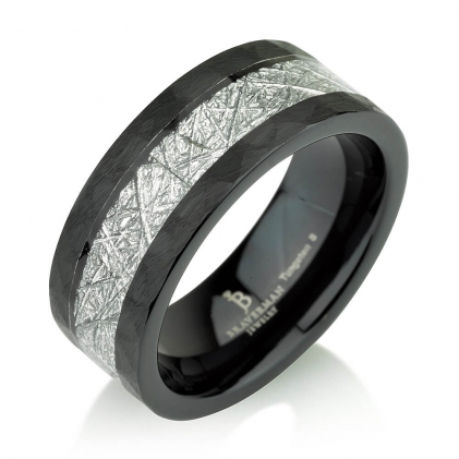 Black Plated Tungsten Brushed Brushed Hammered Top Meteorite Pattern Ring 8mm