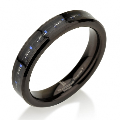 Black Plated Tungsten Blue Carbon Fibers Wedding Ring 4mm