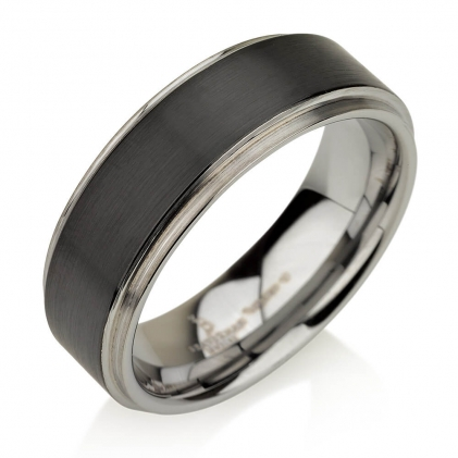 Black Plated Tungsten Brushed Center Gunmetal Wedding Band 8mm