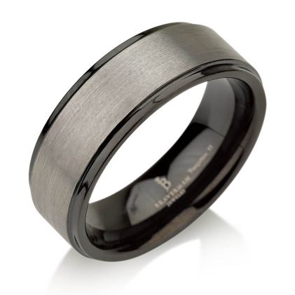 Black Plated Tungsten Brushed Center Gunmetal Wedding Ring 8mm