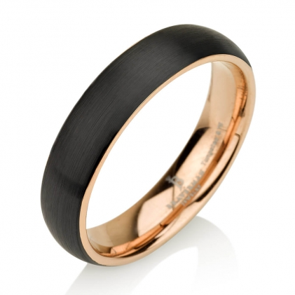 Black Plated Tungsten Brushed Band with Inner Plating 4mm