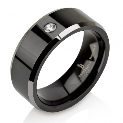 Black Plated Tungsten Beveled Edges Diamond Wedding Band (~0.05 CT. TW.)