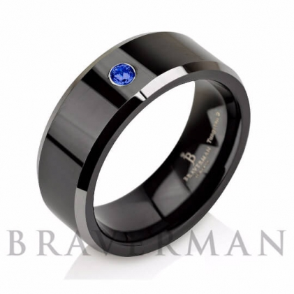 Black Plated Tungsten  Blue Sapphire Wedding Band (~0.05 CT. TW.)