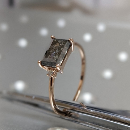 Delicate Emerald Baguette Raw Salt and Pepper Diamond Gold Engagement Ring Art Deco 1920's Inspired Thin Petite Band 14k Unique Ring for Her