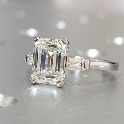 KARA EMERALD CUT Moissanite & DIAMOND TAPERED BAGUETTE RING