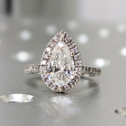 14K Solid Gold Engagement Ring /1.25CT Pear Moissanite Diamond Wedding Ring/Moissanite Engagement Ring/Stack Ring/Promise ring/Rose gold