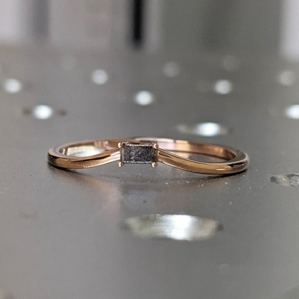 Gold Emerald Baguette Raw Salt and Pepper Diamond Gold Engagement Ring Art Deco 1920's Inspired Thin Petite Band 14k Unique Ring for Her